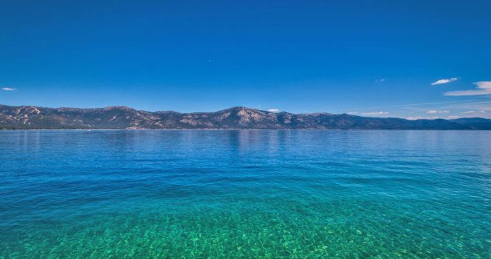 Beautiful Blue Lake Tahoe gleams in the mid-day sun.