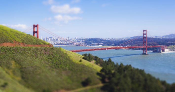The Golden Gate Bridge from the north california hills on a sunny day.